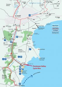 Map of our cycle trails in Cornwall